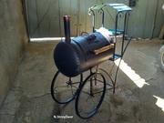 Мангал-барбекю в виде паровоза ковка